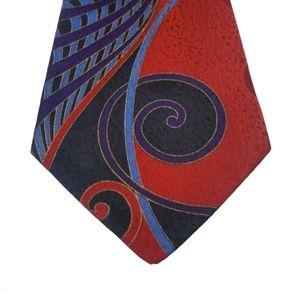 Supreme Men's Wear Red Blue Purple Spiral Wave Tie